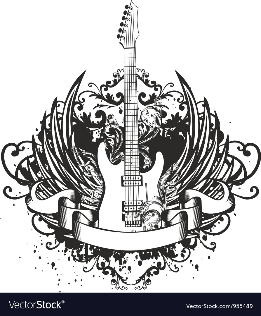 Guitar with wings and patterns