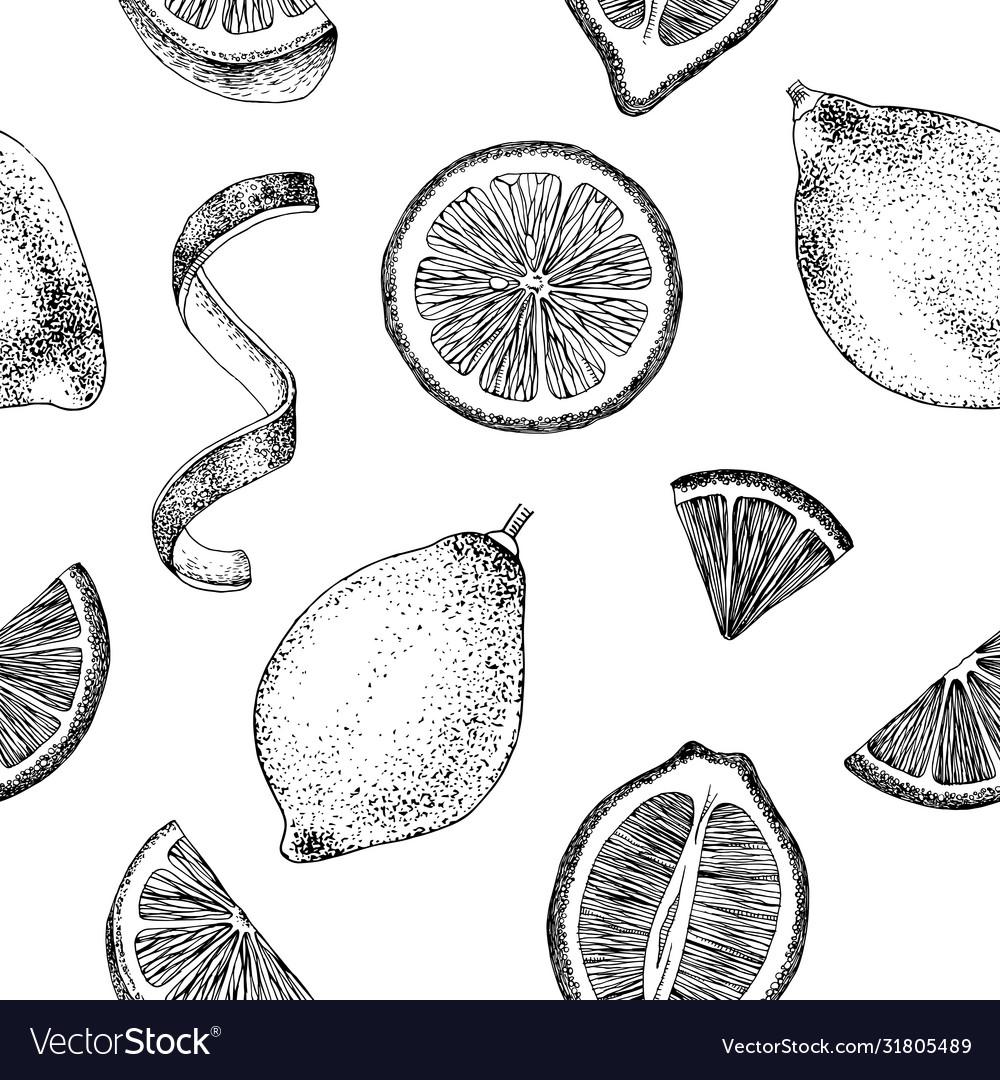 Hand drawn seamless pattern with lemons