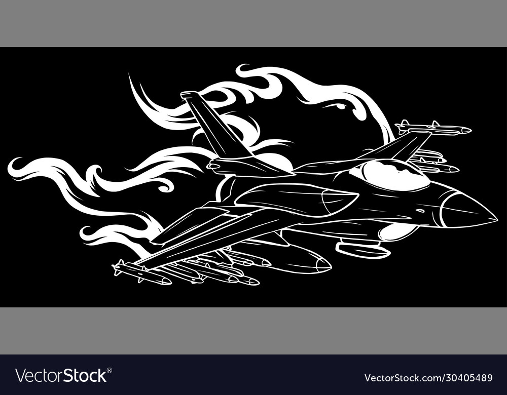 Jet fighter aircraft in black background