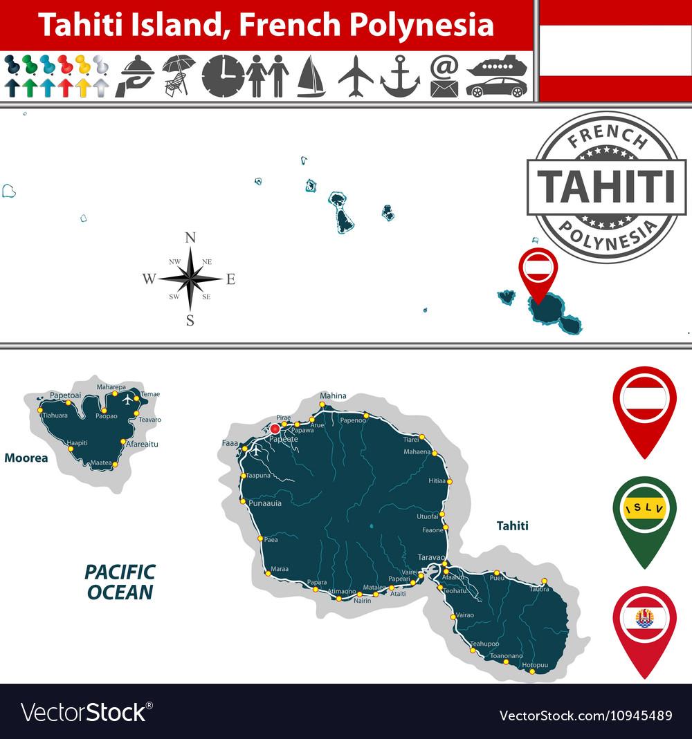 Map of Tahiti island