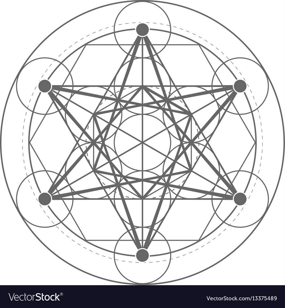metatrons cube sacred geometry royalty free vector image