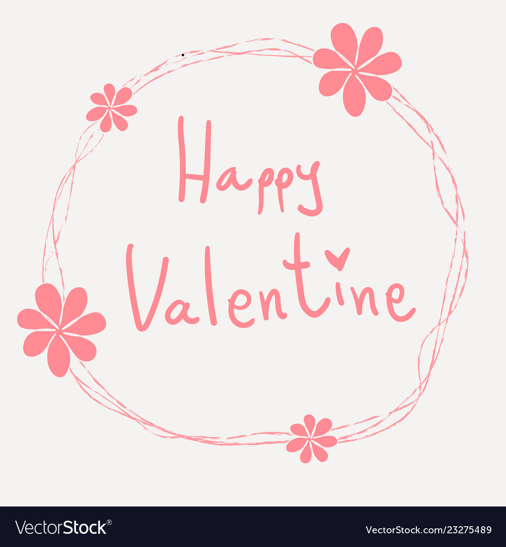 Pink happy valentine word hand writing in