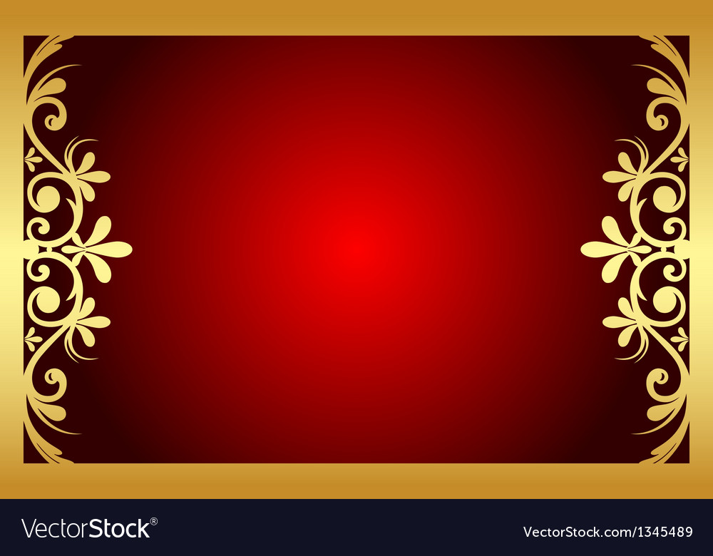 Red And Gold Floral Frame Royalty Free Vector Image