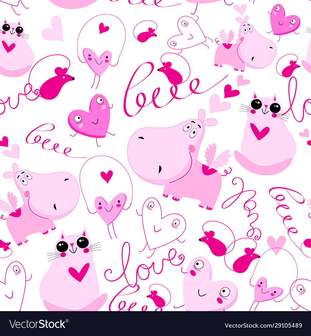 Seamless festive pattern pink hippos and cats