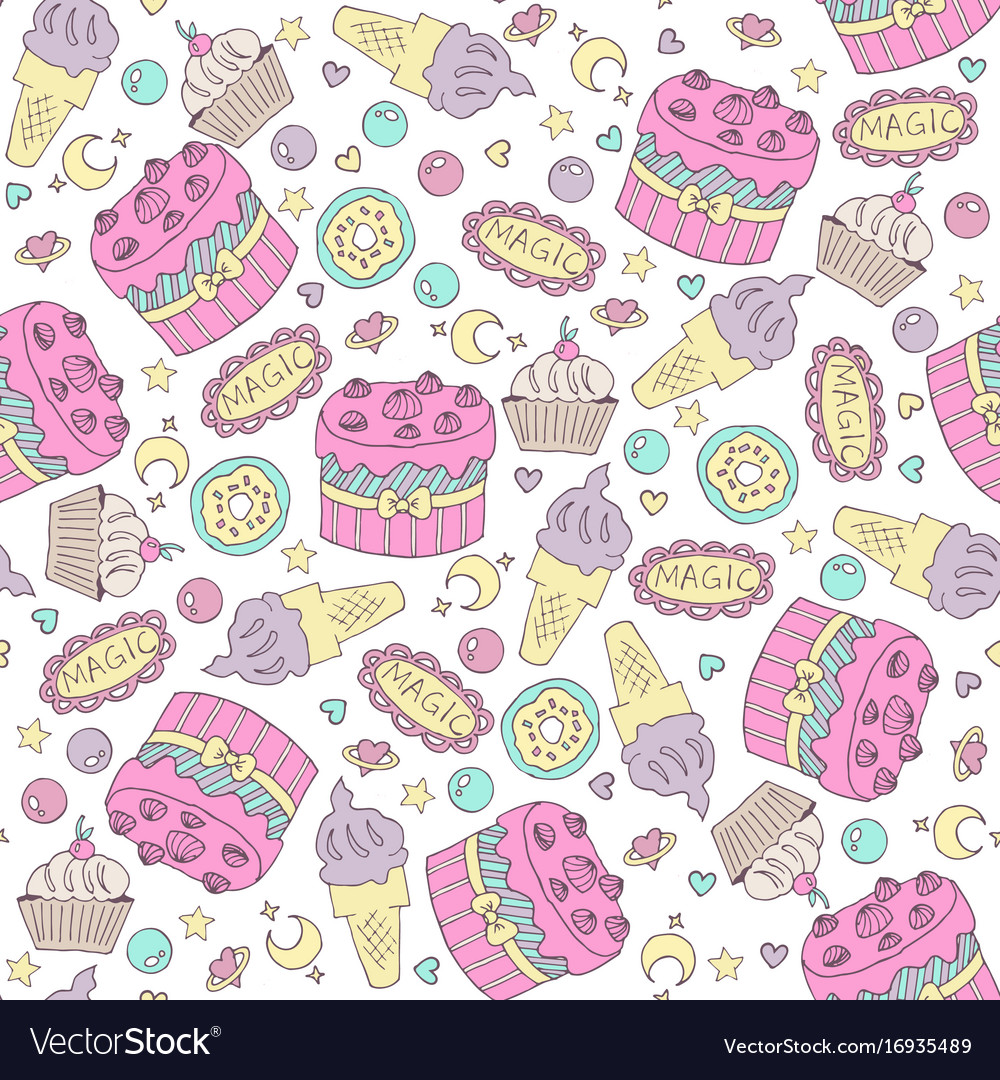 Seamless Pattern With Birthday Cake Vector Image On Vectorstock