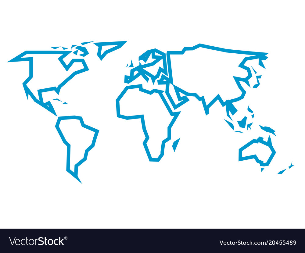 Simplified Blue Thick Outline Of World Map Divided