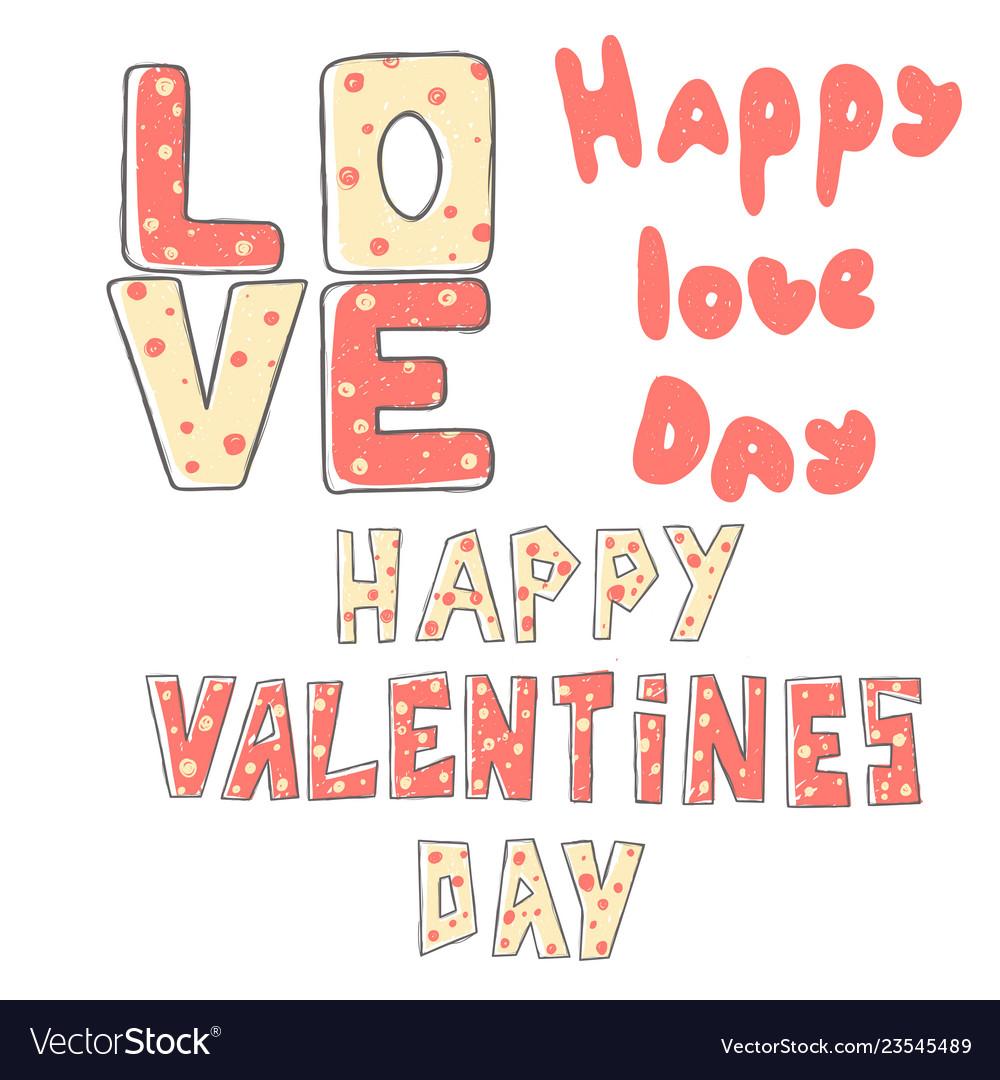 Valentine s day lettering set stylized large