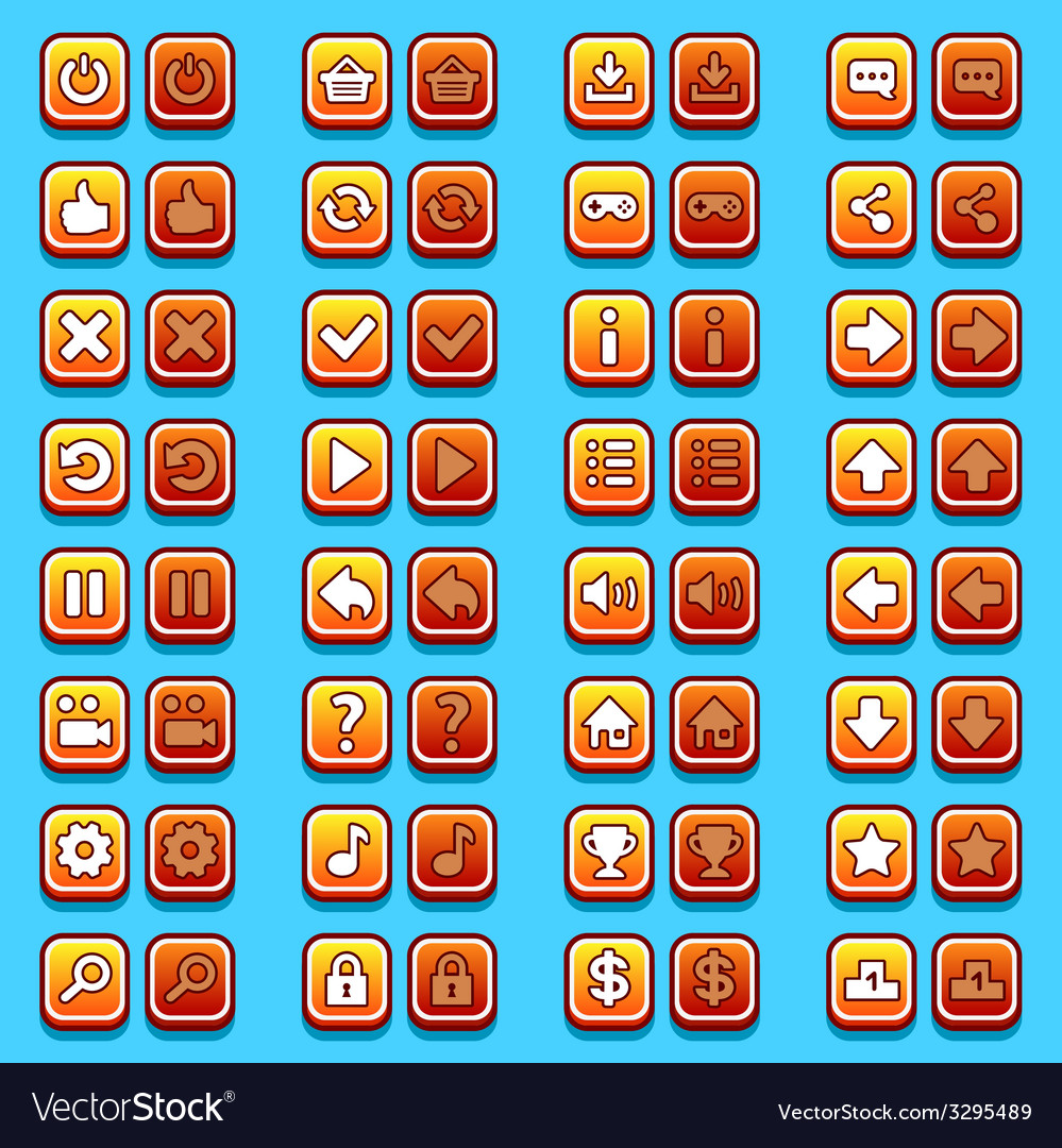 Yellow game icons buttons icons interface