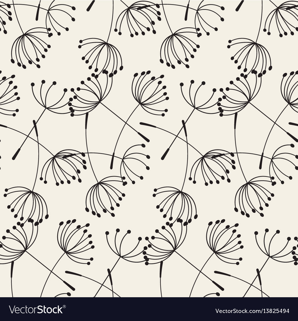 Abstract dandelions seamless patterns