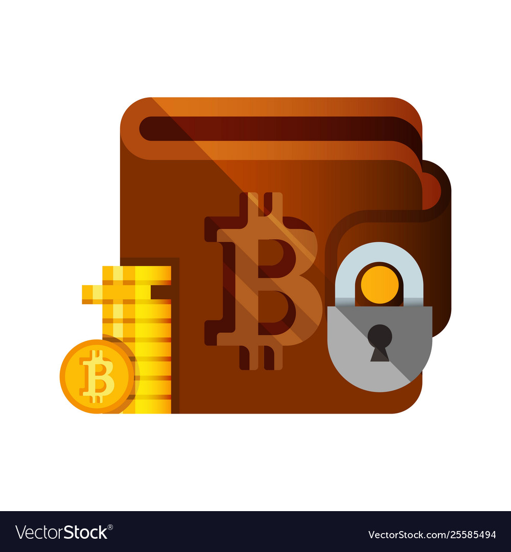 Bitcoin wallet crupto currency flat style