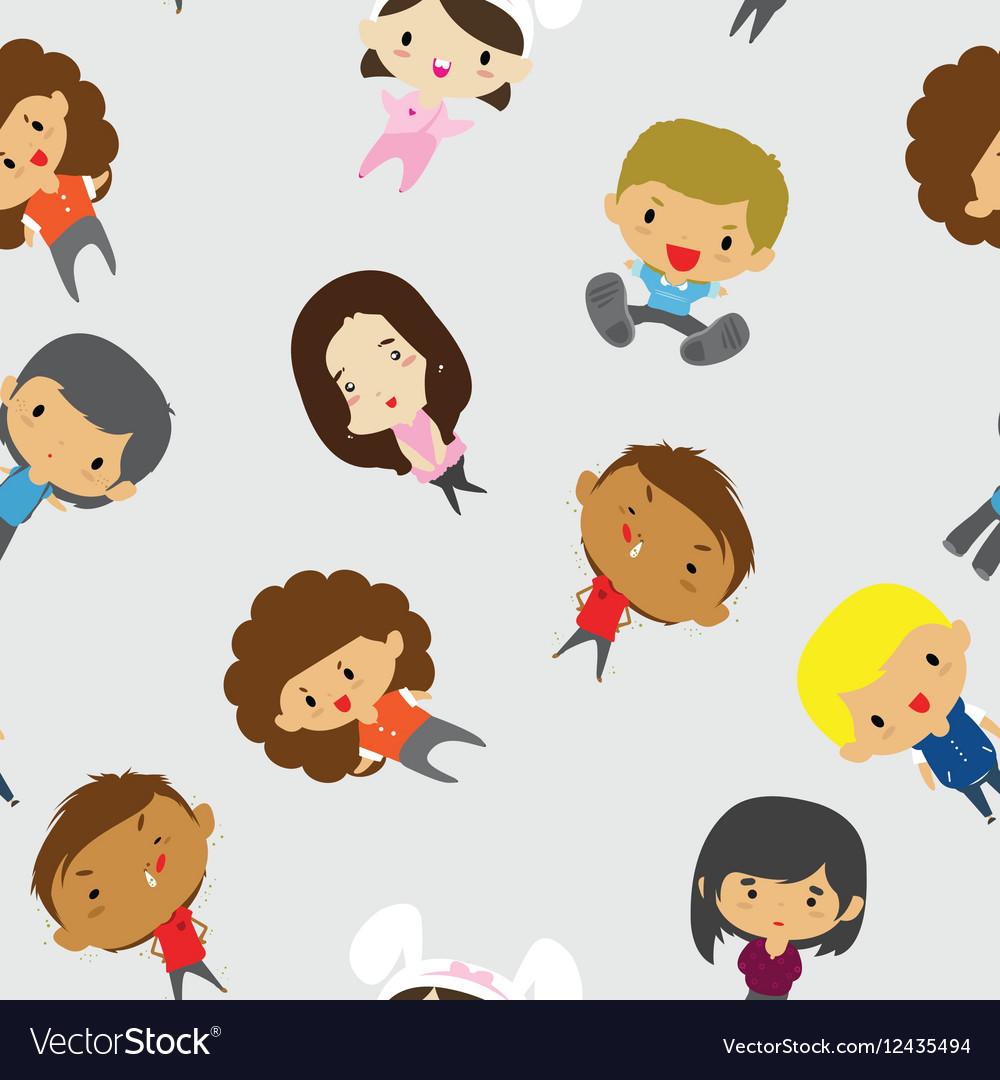 Cartoon Boys Girls pattern including seamless