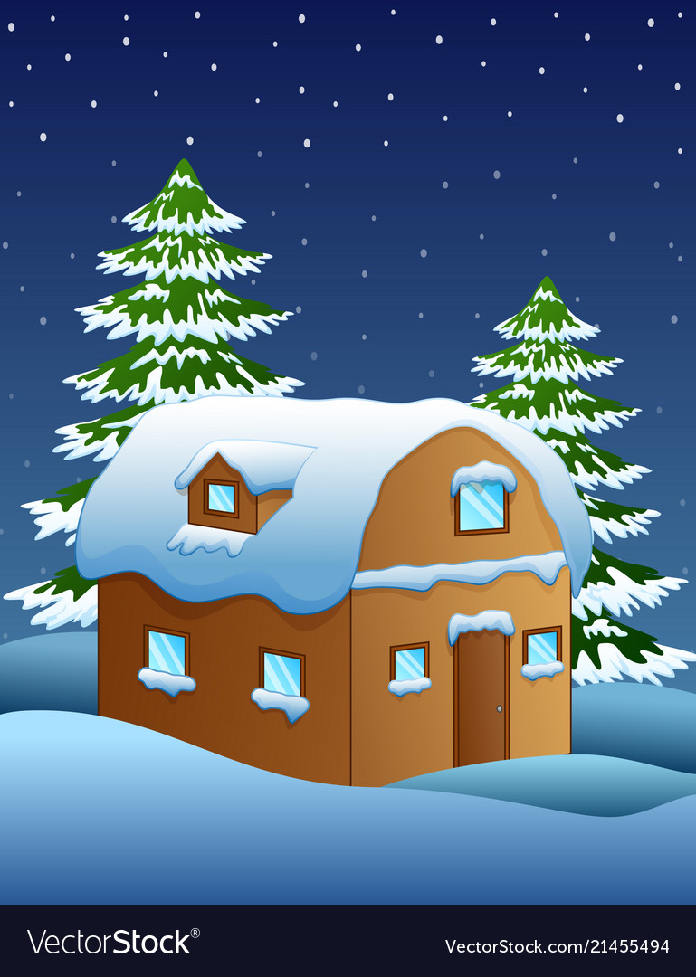 Christmas night with a fir tree and snowy houses