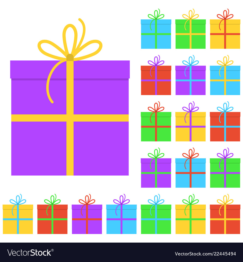 Collection of twenty multi colored gift boxes