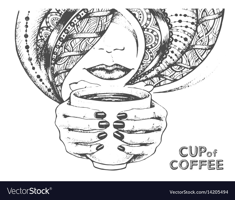 Decorative sketch of cup of coffee or tea