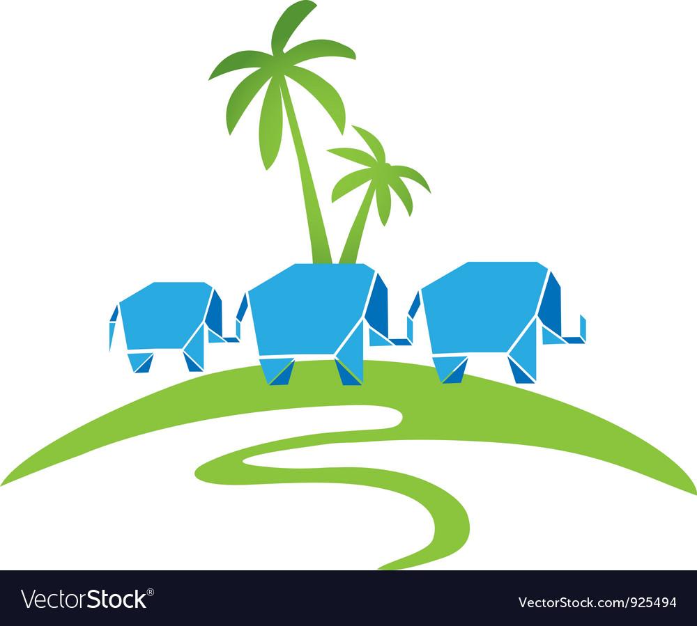 Elephants with palms logo