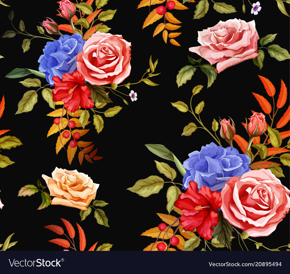 Flower hibiscus rose seamless pattern