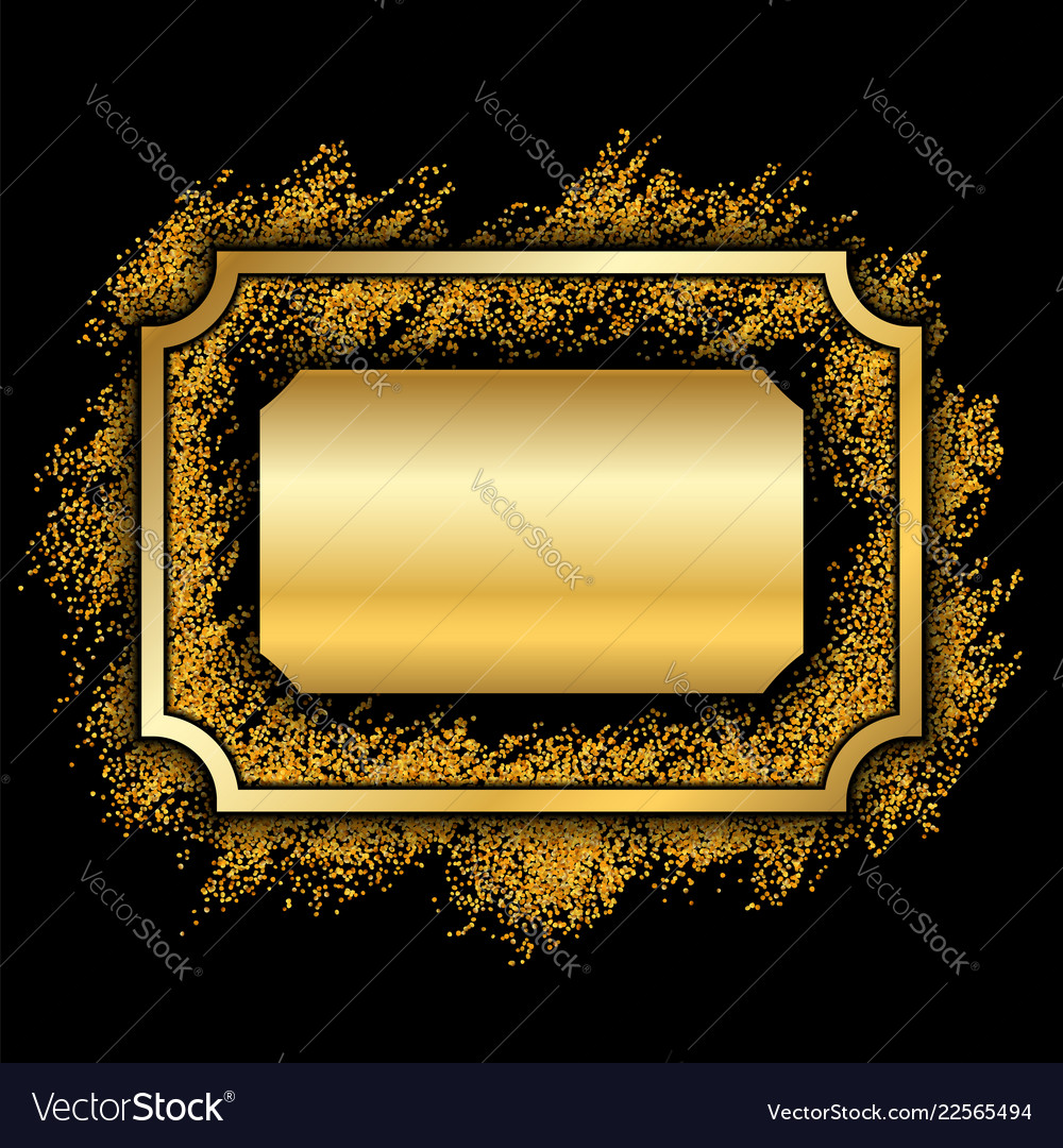Gold frame beautiful golden glitter design