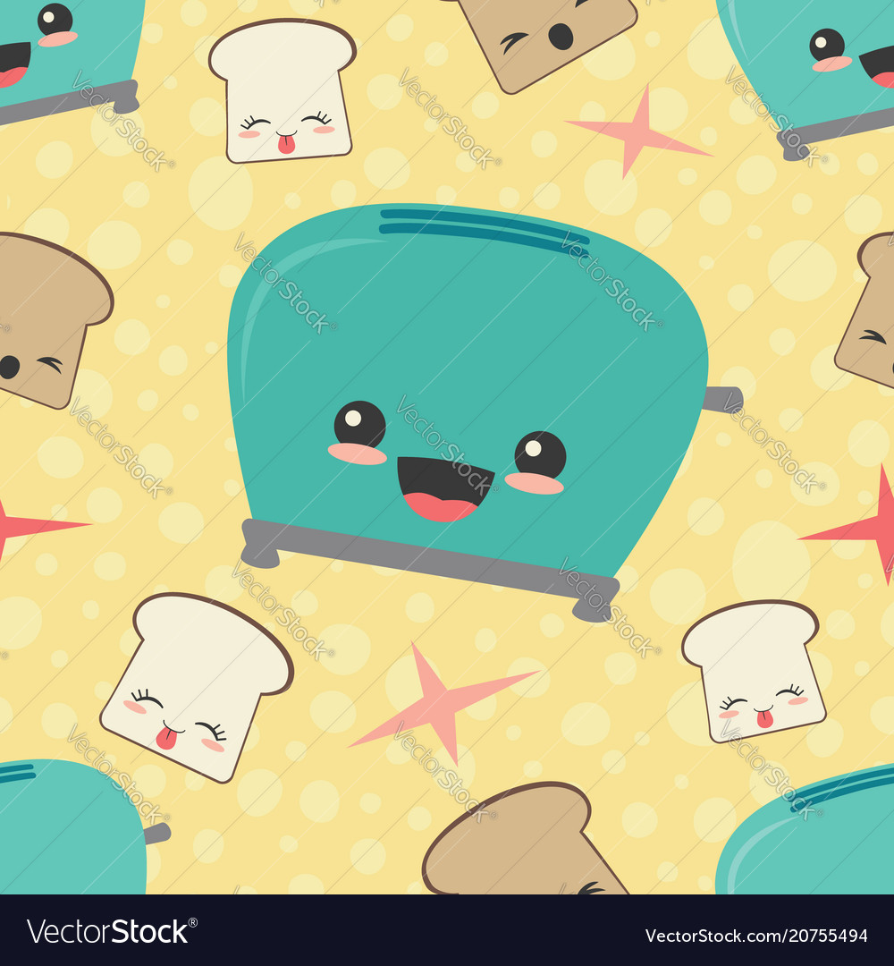Happy toaster toast seamless pattern