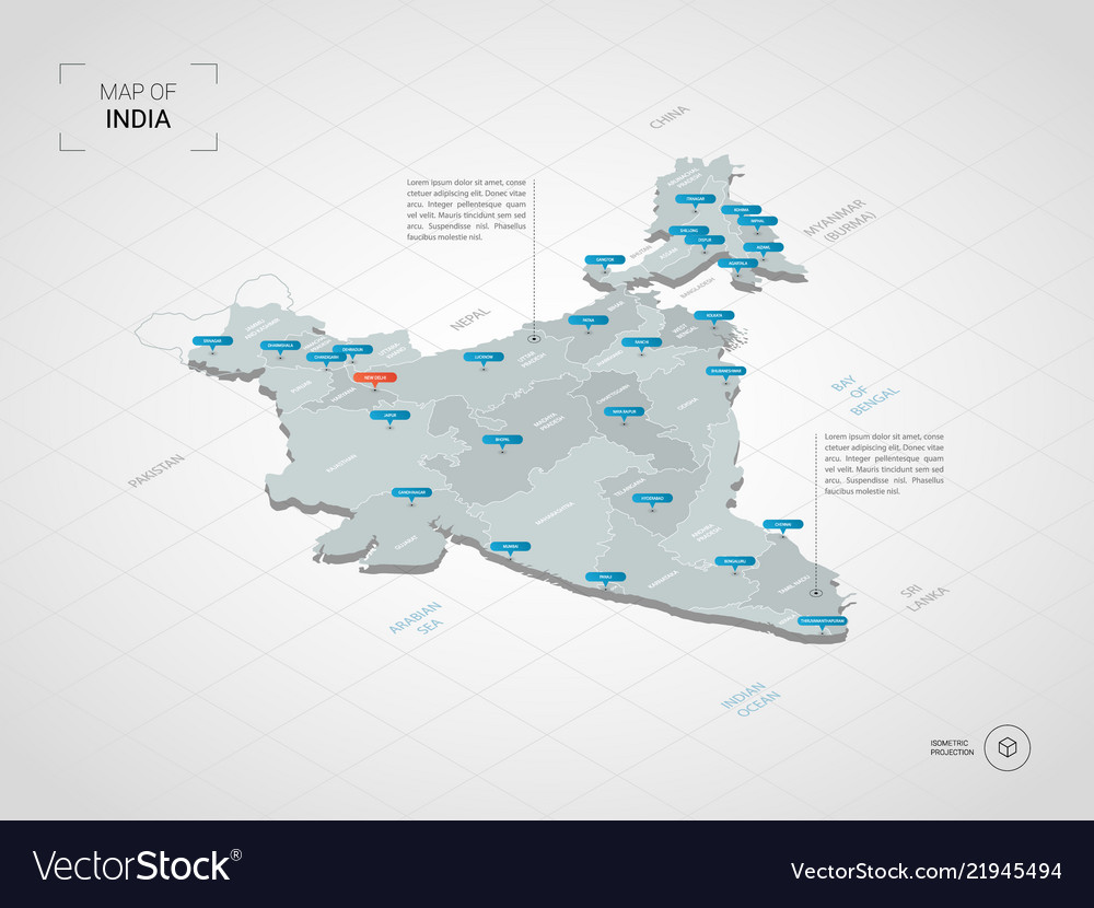 Isometric india map with city names and