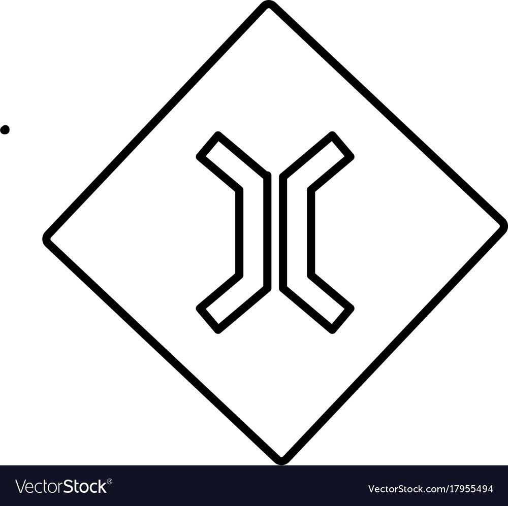 Narrow road sign icon vector image