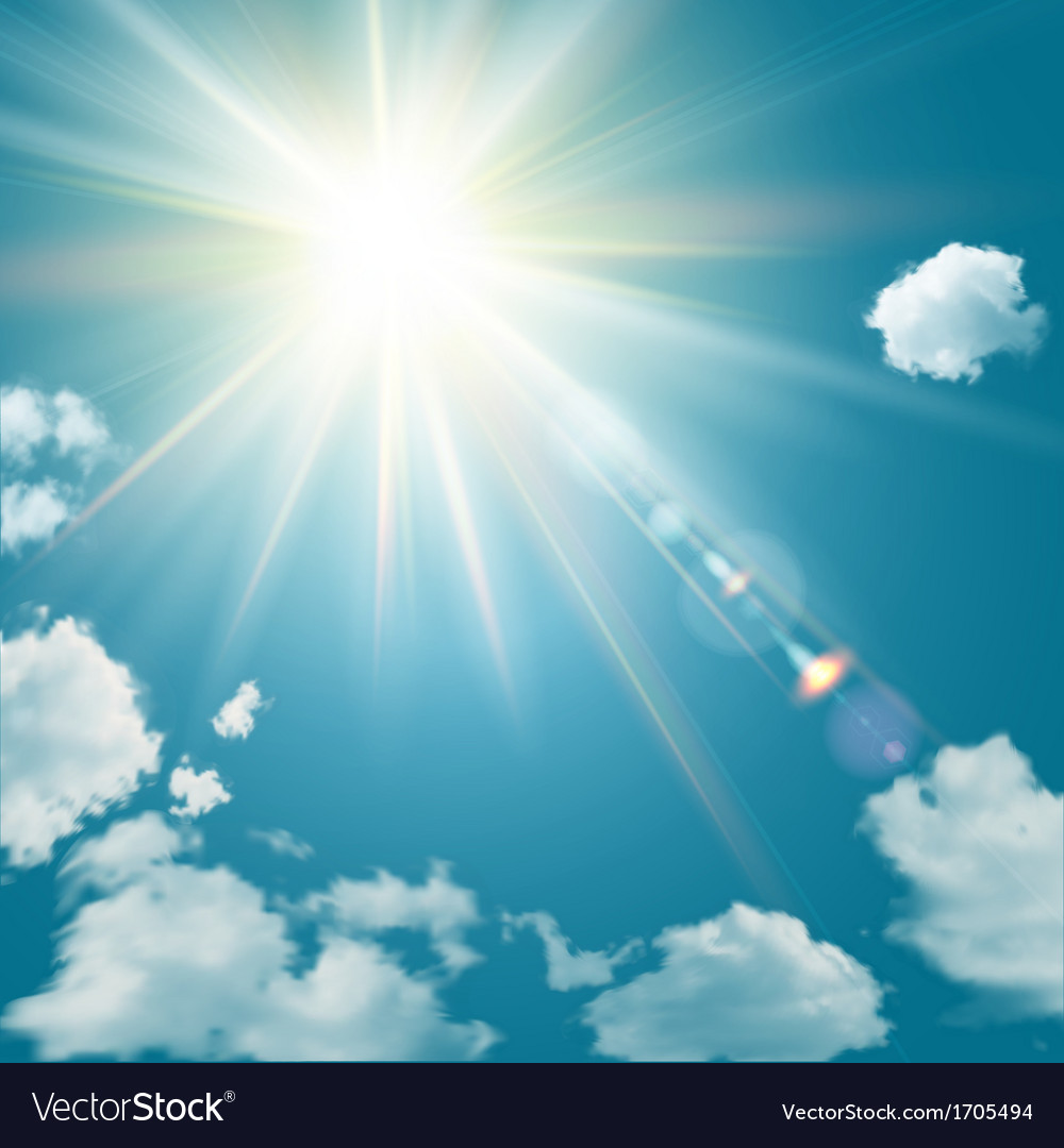 Realistic shining sun with lens flare