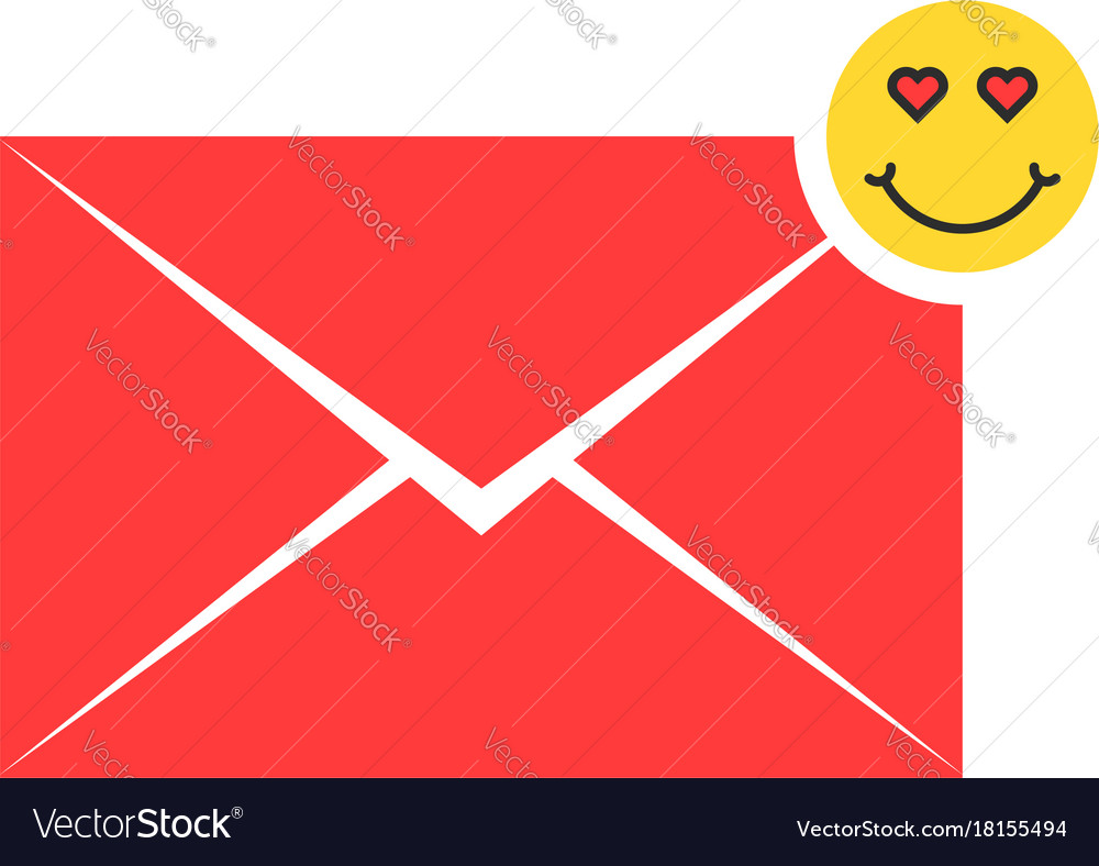 Red love letter icon with emoji