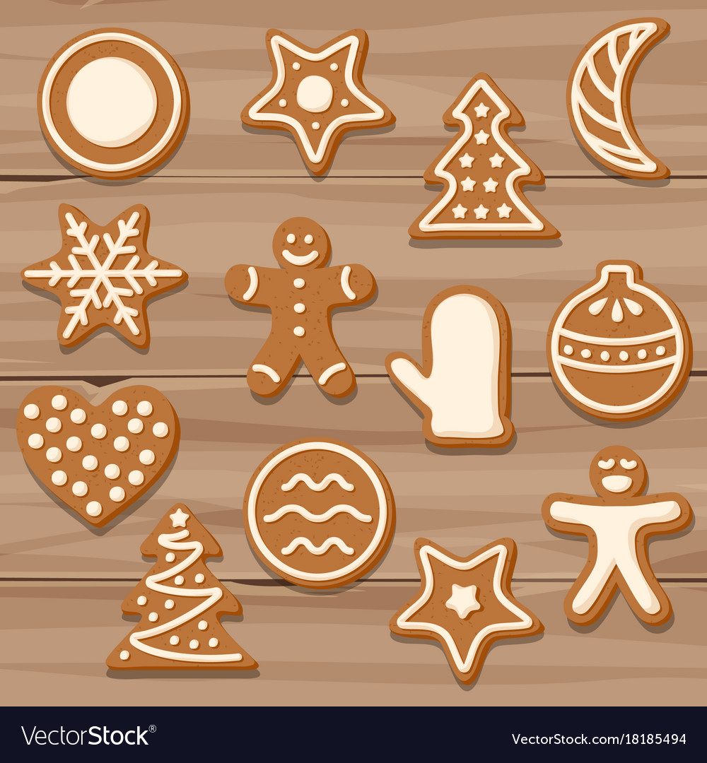 Set Of Christmas Cookies On Wooden Background