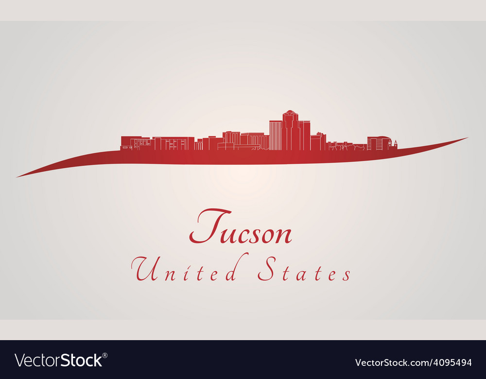 Tucson skyline in red vector image