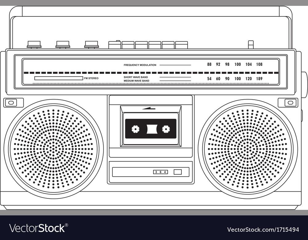 vintage cassette recorder ghetto blaster boombox vector image rh vectorstock com boombox vector free download boombox vector image