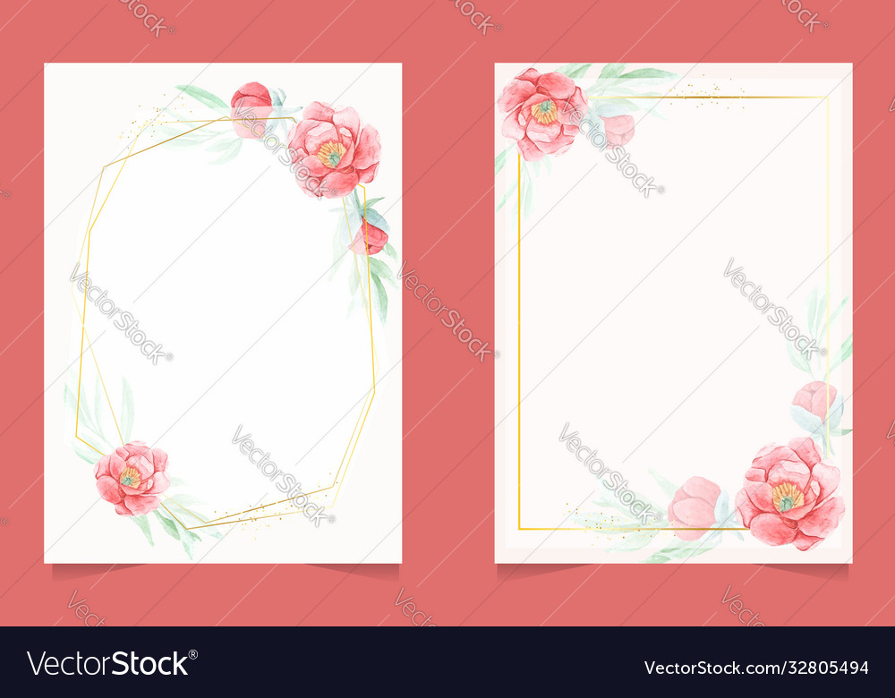 Watercolor red peony with golden frame wedding