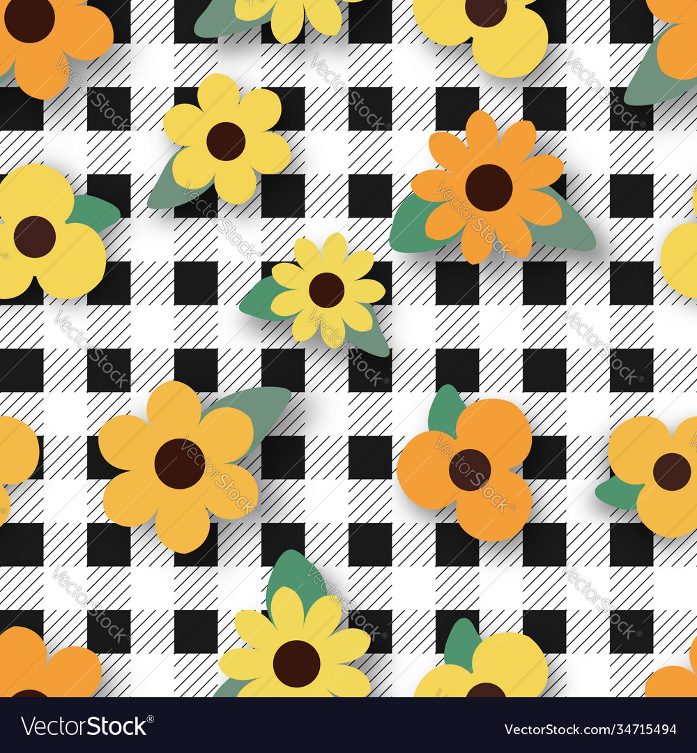 Yellow flower on black plaid seamless pattern