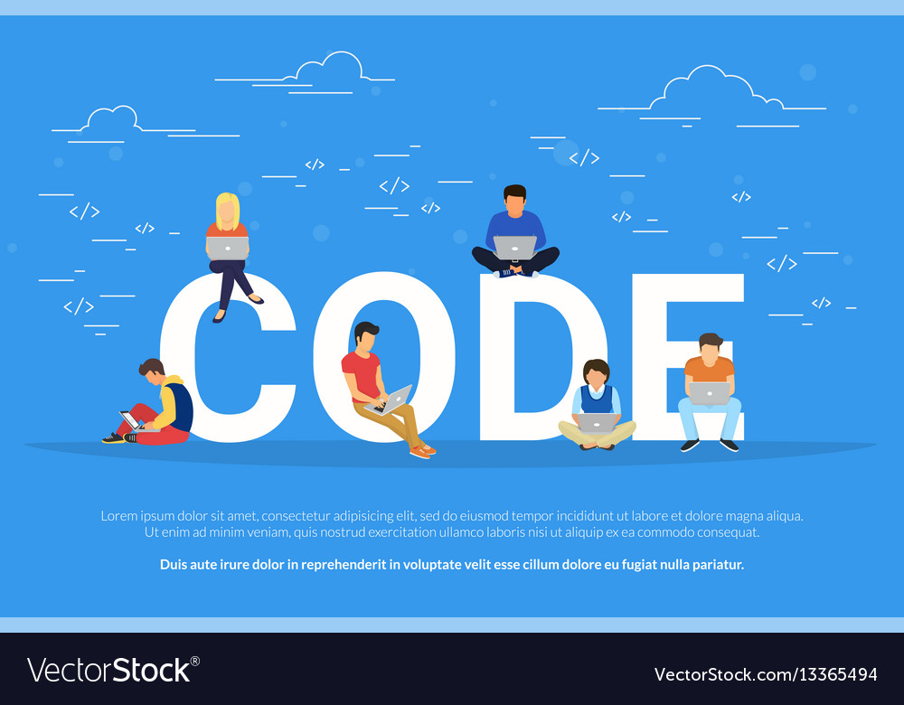 Young programmers coding a new project vector image