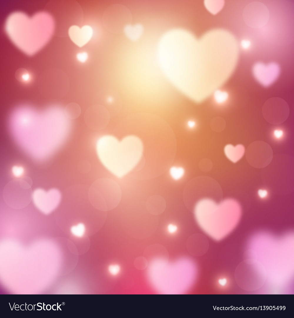 Abstract romantic background with hearts and bokeh