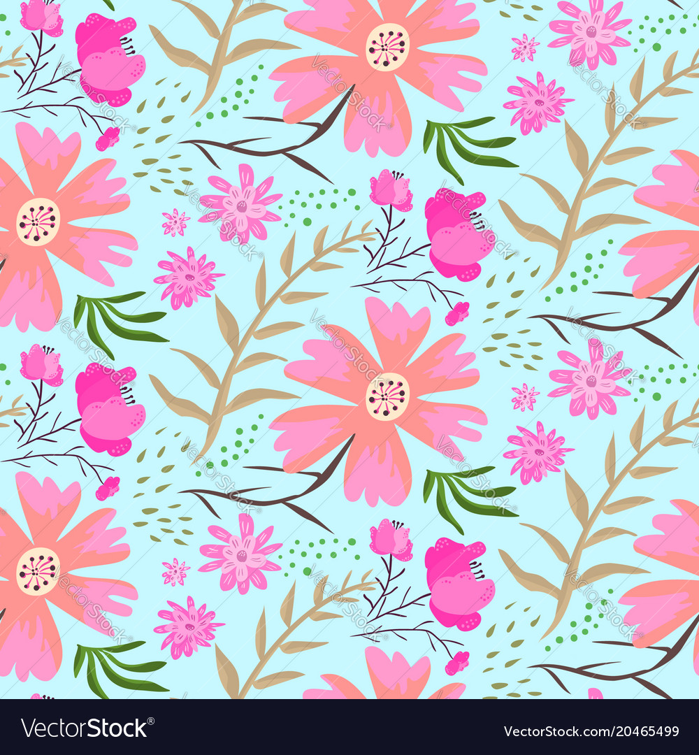 Bright Doodle Pink Flowers Summer Pattern Vector Image