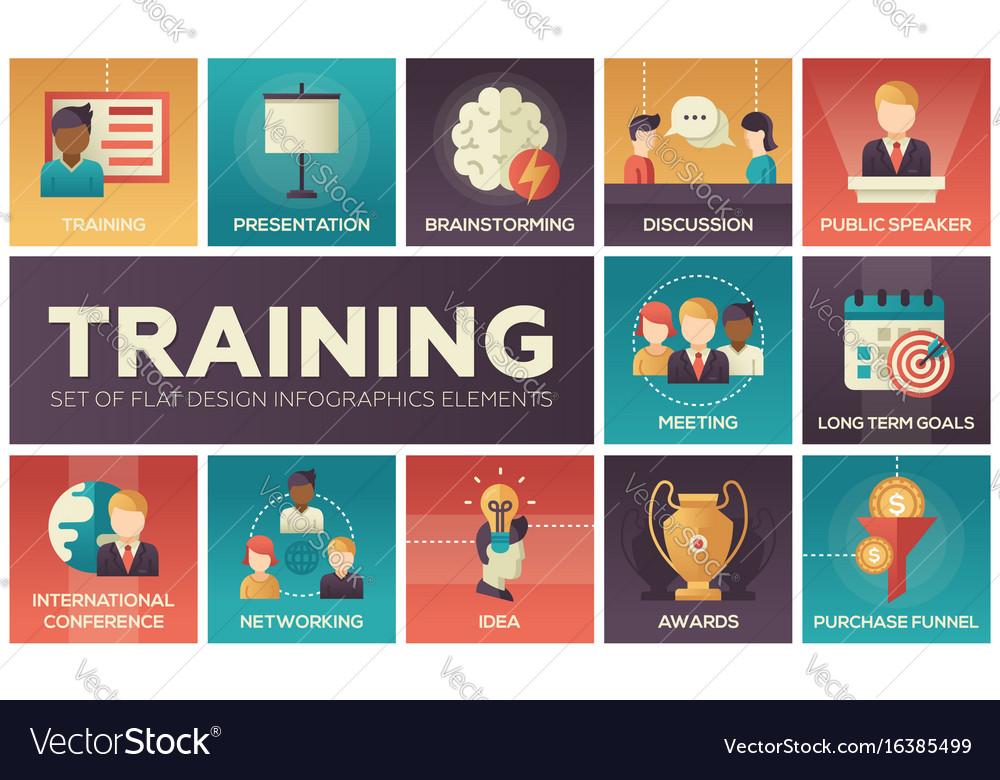 Business training - flat design icons set