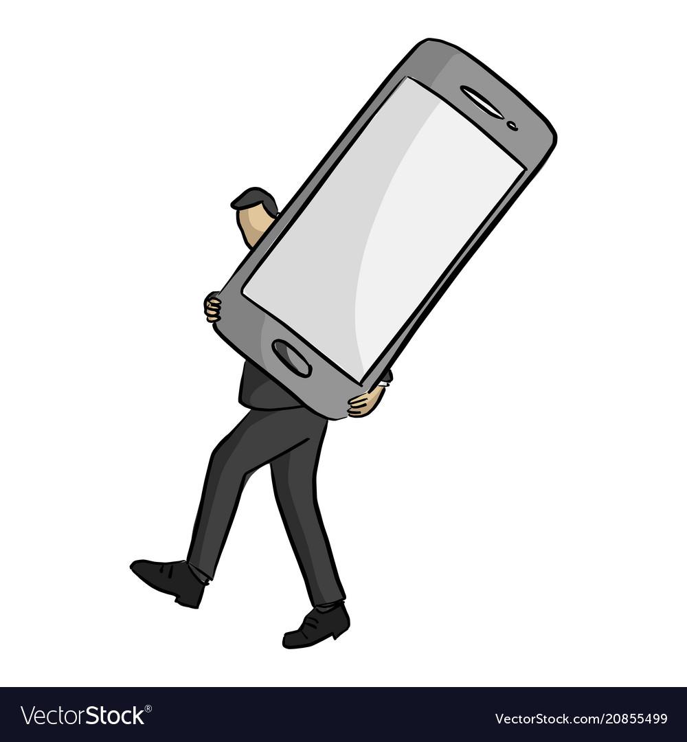 Businessman carrying big mobile phone