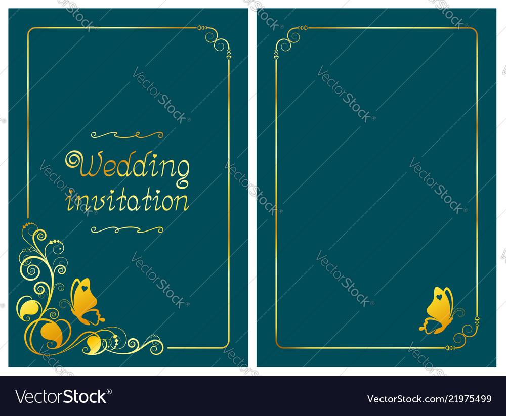 Dark cyan wedding invitation card foil design