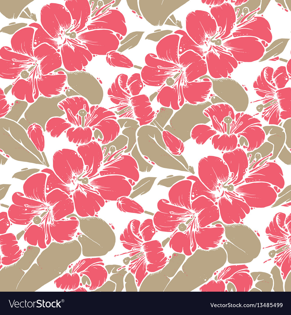 Lemon blossom drawing seamless pattern