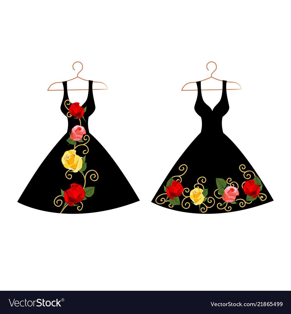 Set of dresses on hangers