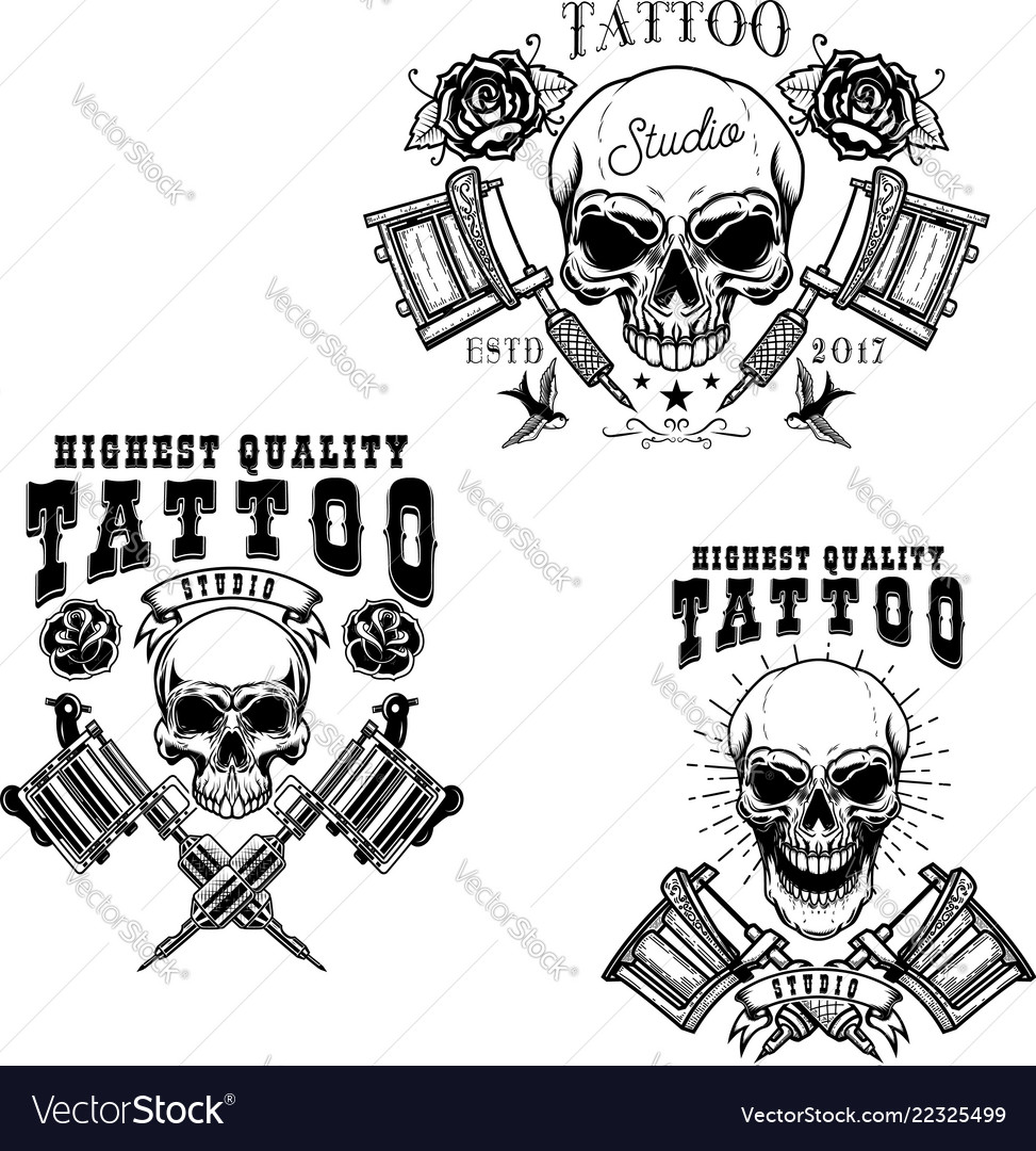 Set tattoo studio emblem templates crossed