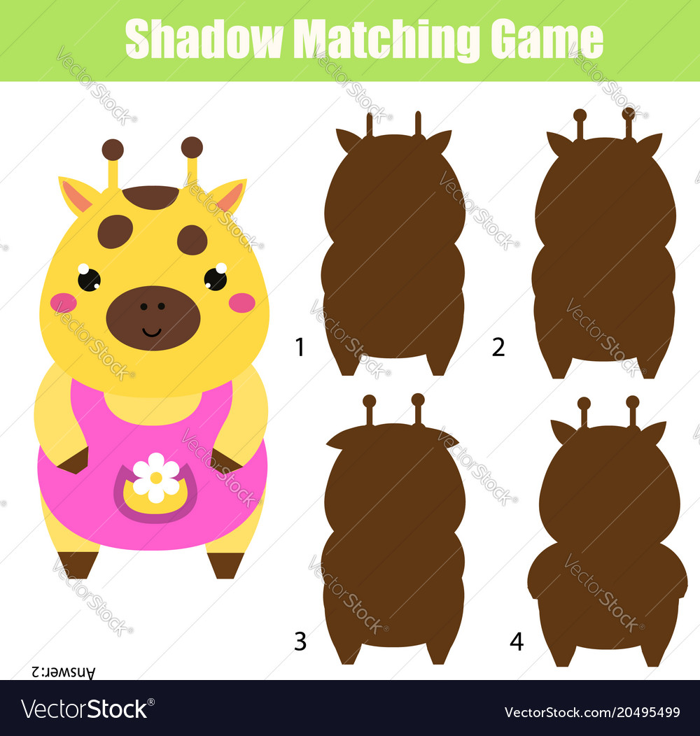 Shadow matching game kids activity with cute