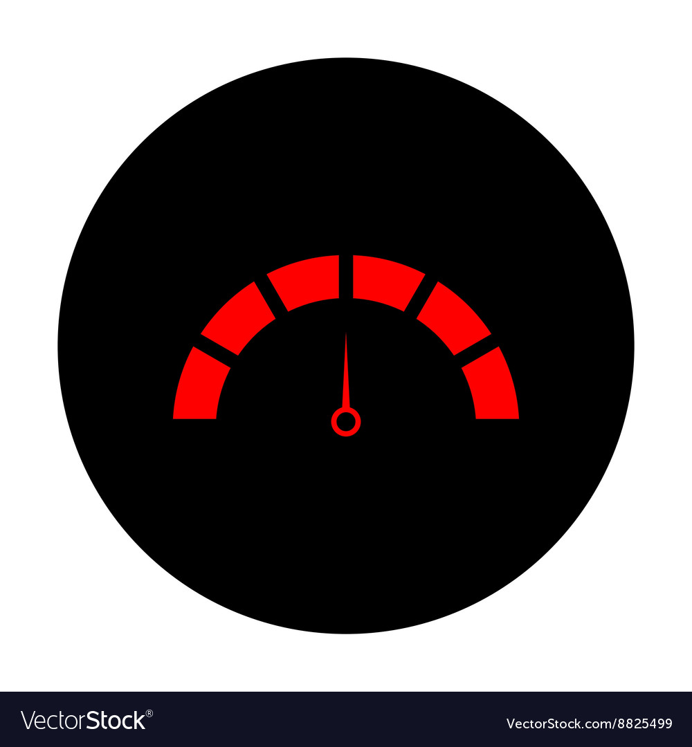 Speedometer sign Red icon