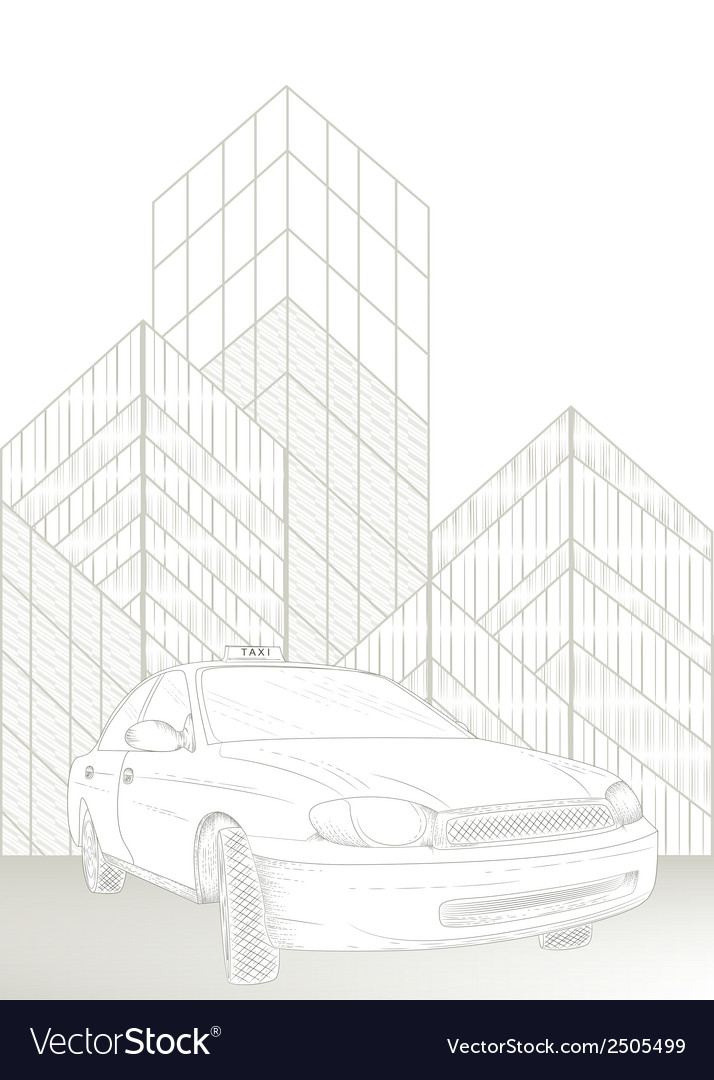 Taxi and city vector image