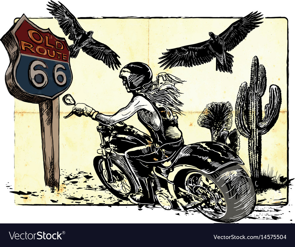 An woman riding motorcycle an hand drawn