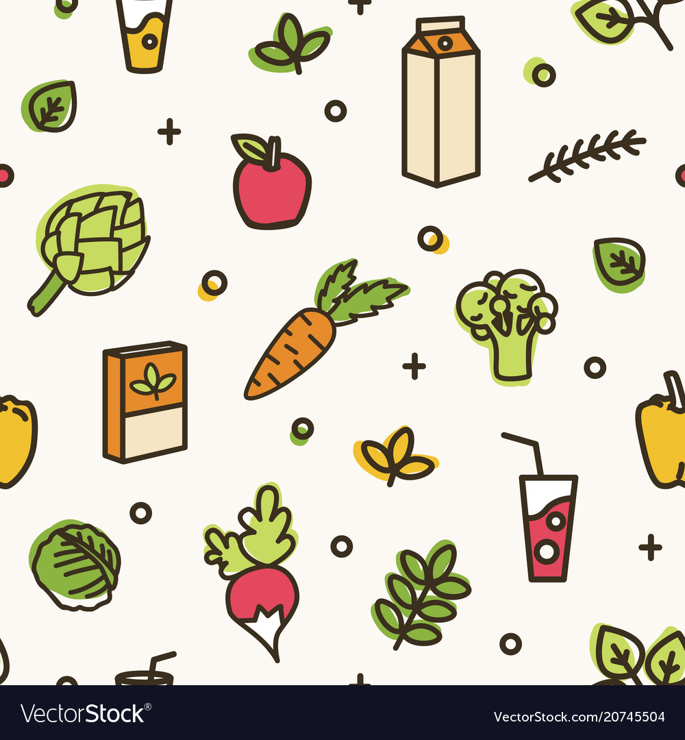 Beautiful seamless pattern with various delicious