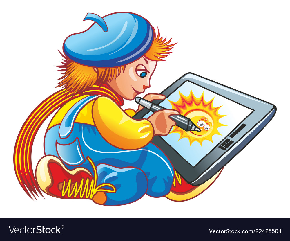 Boy and a graphics tablet blue and yellow