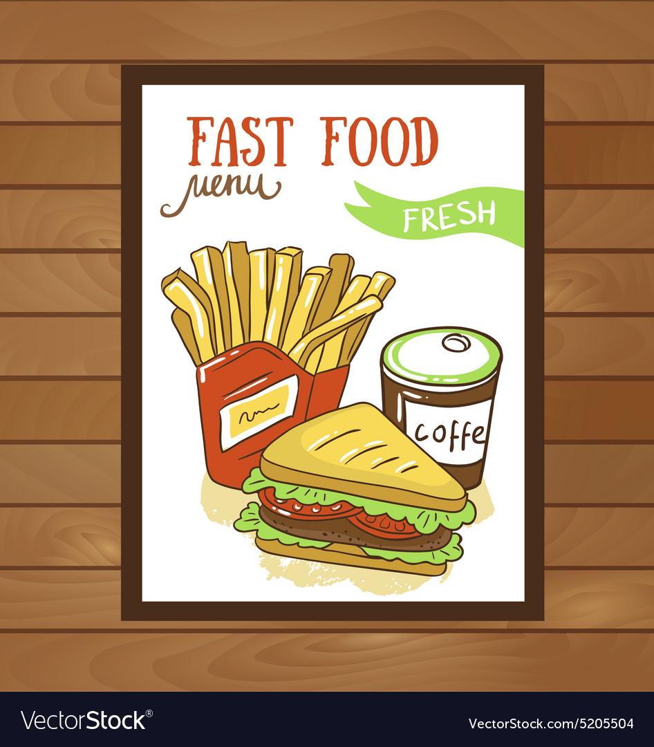 Fast food menu - Fast food poster vector image