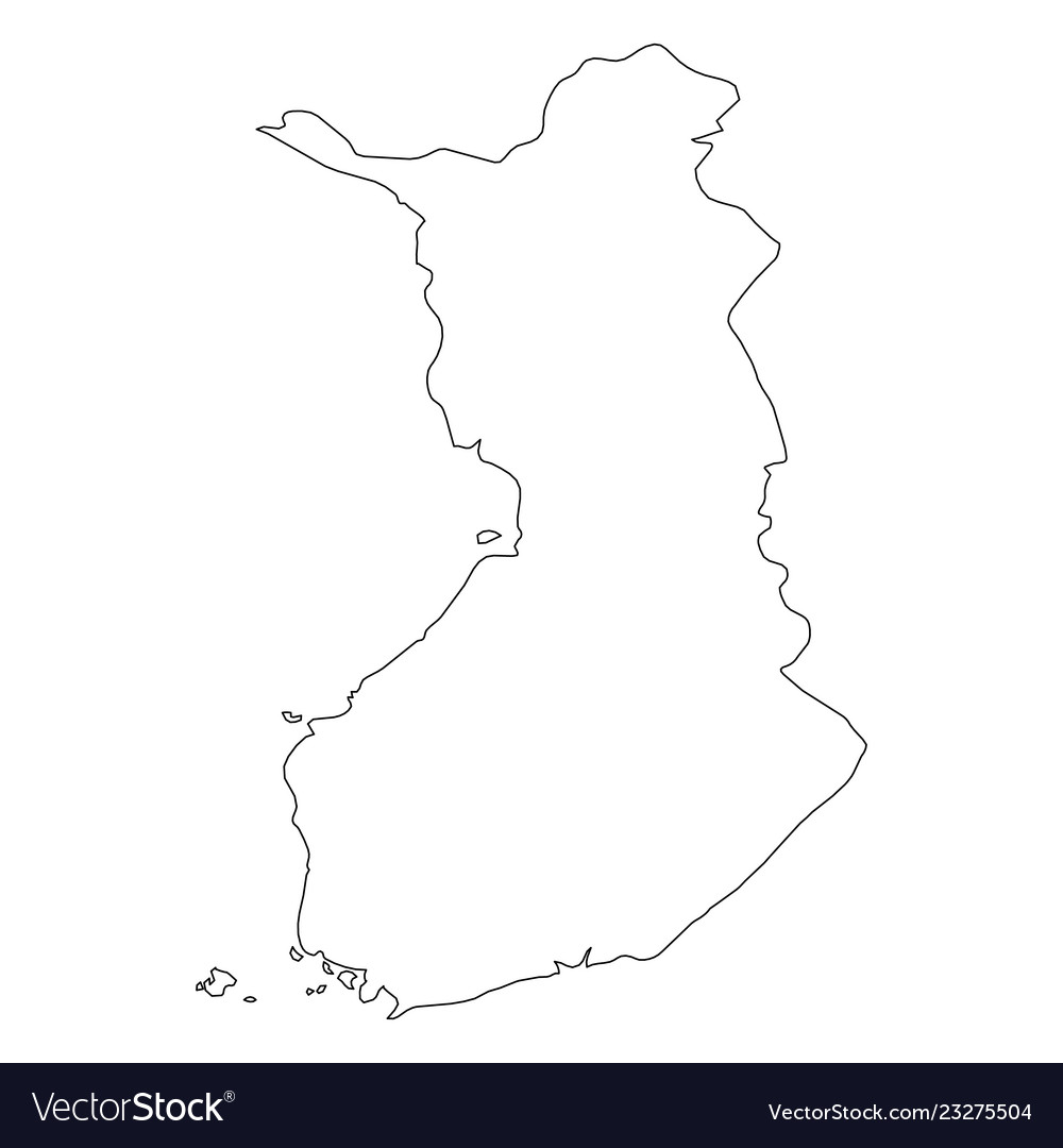 Finland - solid black outline border map of