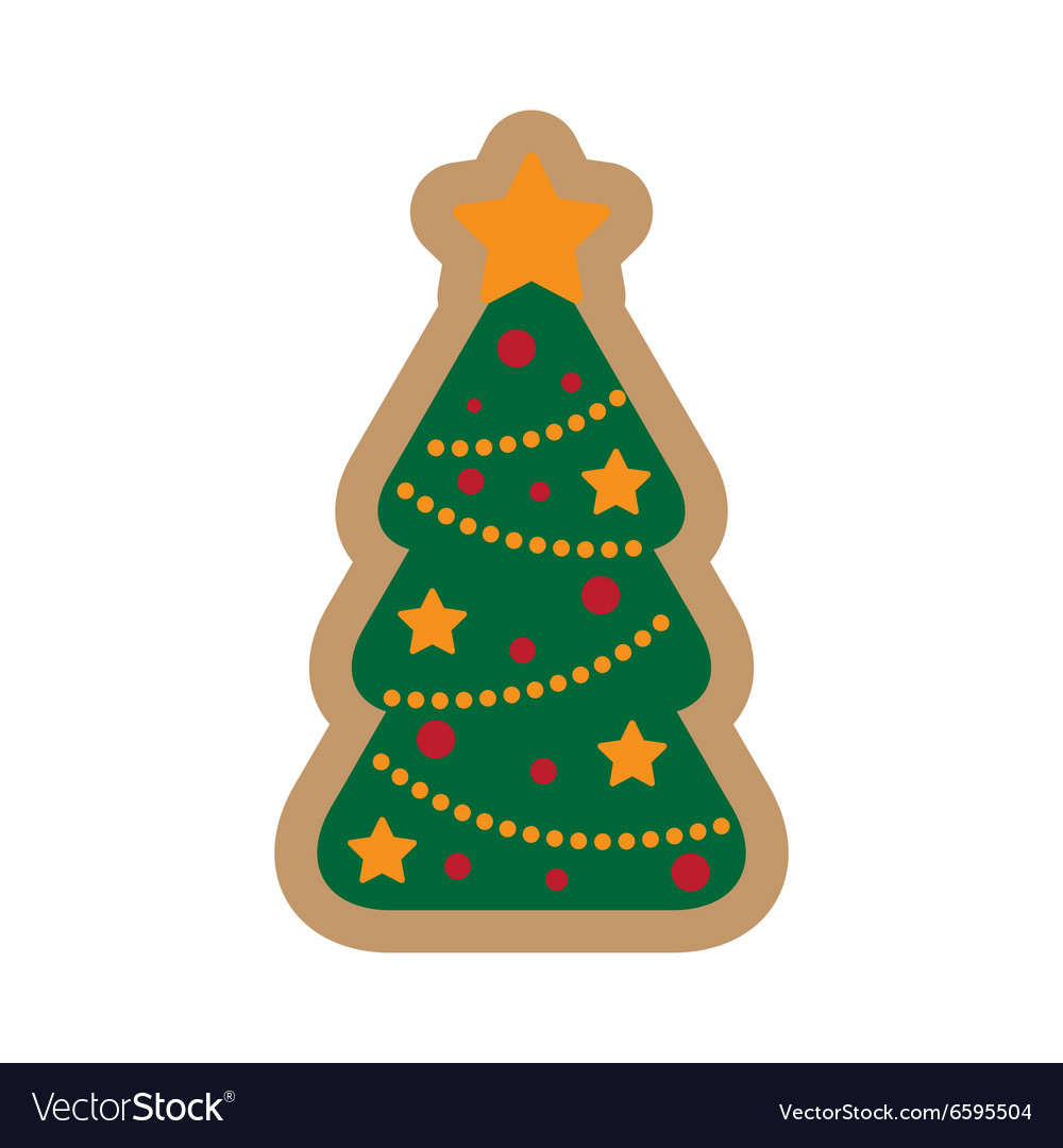 Flat Icon On White Background Christmas Tree Vector Image