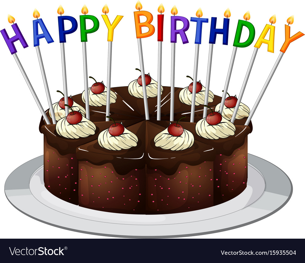 Swell Happy Birthday Card With Chocolate Cake And Vector Image Funny Birthday Cards Online Fluifree Goldxyz